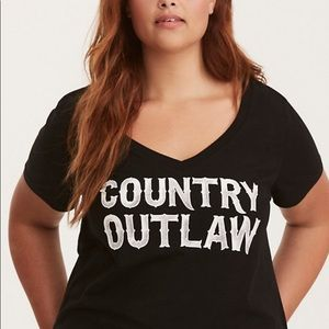 TORRID Country Outlaw Cotton V-Neck T-Shirt